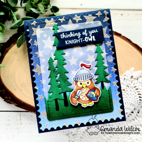 Knight Owl Card by Amanda Wilcox | Knight Owl Stamp Set, Forest Scene Builder Die Set, Land Borders Die Set, Framework Die Set, Frames & Flags Die Set and Cascading Stars Stencil by Newton's Nook Designs #newtonsnook #handmade