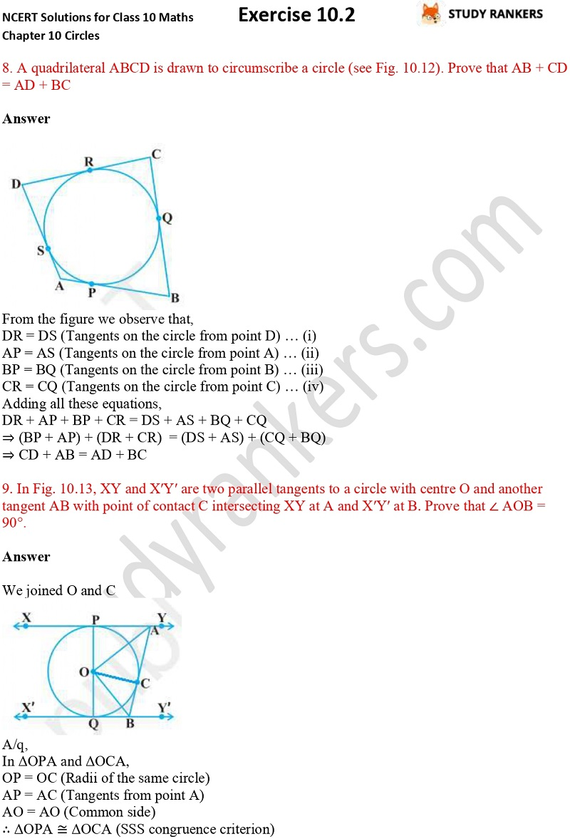 NCERT Solutions for Class 10 Maths Chapter 10 Circles Exercise 10.2 Part 6