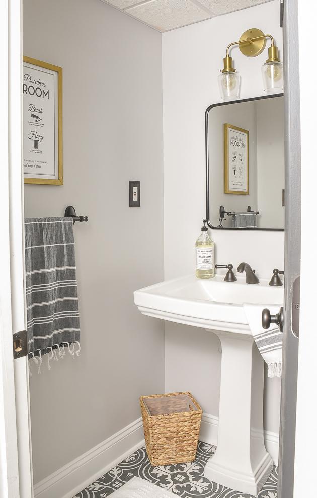 vintage modern half bathroom