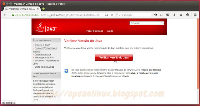 https://www.java.com/pt_BR/download/installed8.jsp