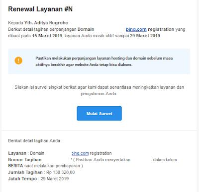 Tagihan perpanjangan domain dari Niagahoster via email