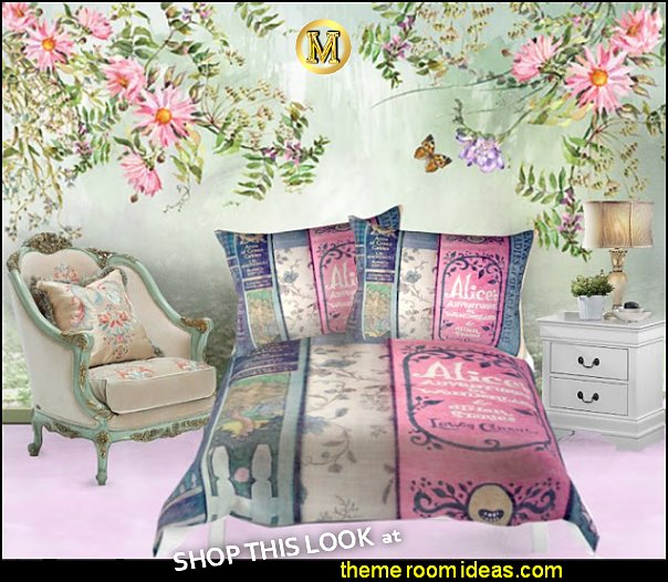 vintage book bedding alice in wonderland bedrooms  Alice in Wonderland bedroom decor - Alice in wonderland themed rooms - design  an Alice in Wonderland Bedroom  - Alice in Wonderland bedroom ideas - Alice in Wonderland bedding - Alice in Wonderlnd wall decals - Alice in Wonderland wall murals - alice in wonderland wallpaper mural -  tea party theme - Vintage alice in wonderland bedroom furniture - Harlequin stencils