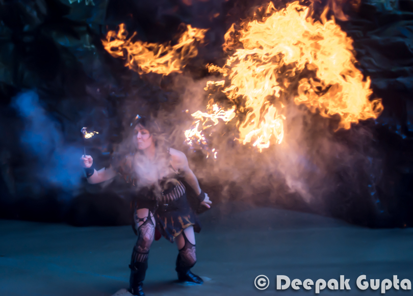 Then started the main event of Fire Breathing. Since it was very windy weather, it was very difficult for them to control the fire. I was simply in awe of the courage of these guys for doing it in such a non-friendly weather.