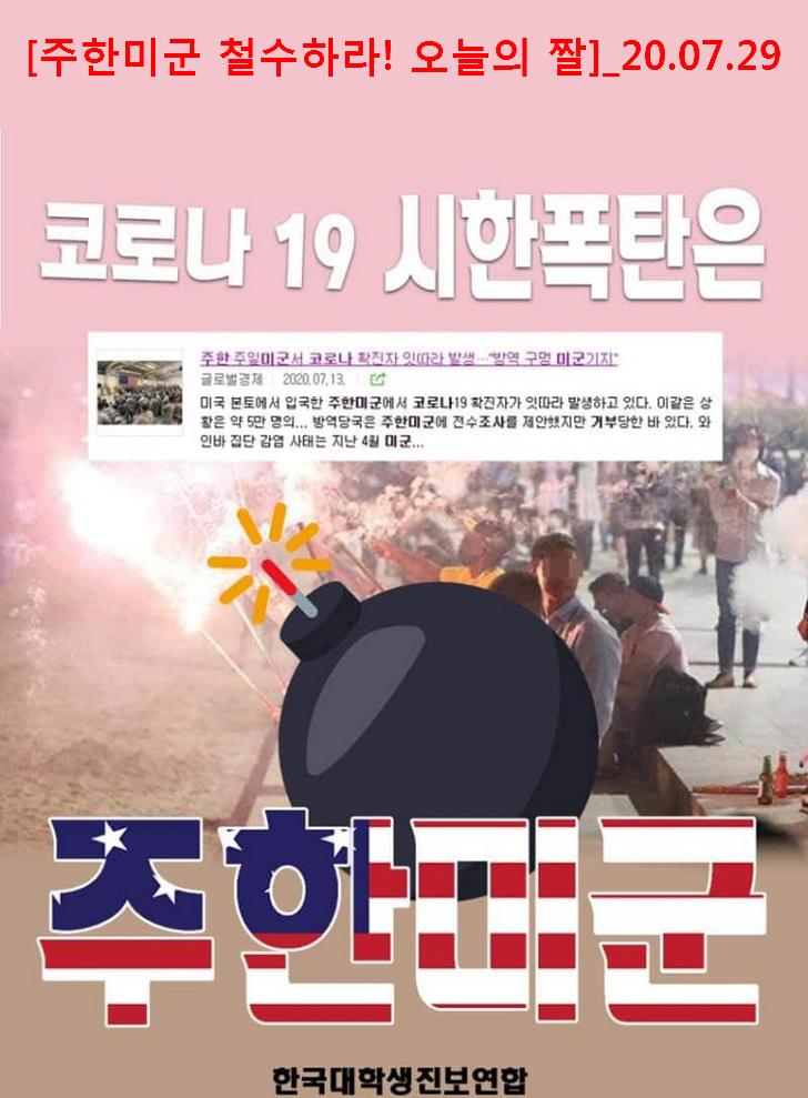 주한미군 철수하라 - 주한미군 코로나19 시한폭탄 - 대진연