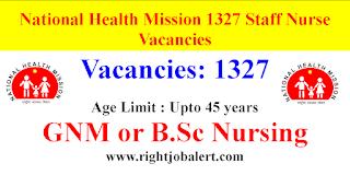 1327 Staff Nurse Vacancies- Apply Online