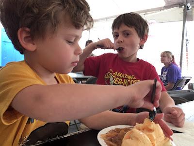 Kids eating cobbler - Perch Peach Pierogi Polka Festival