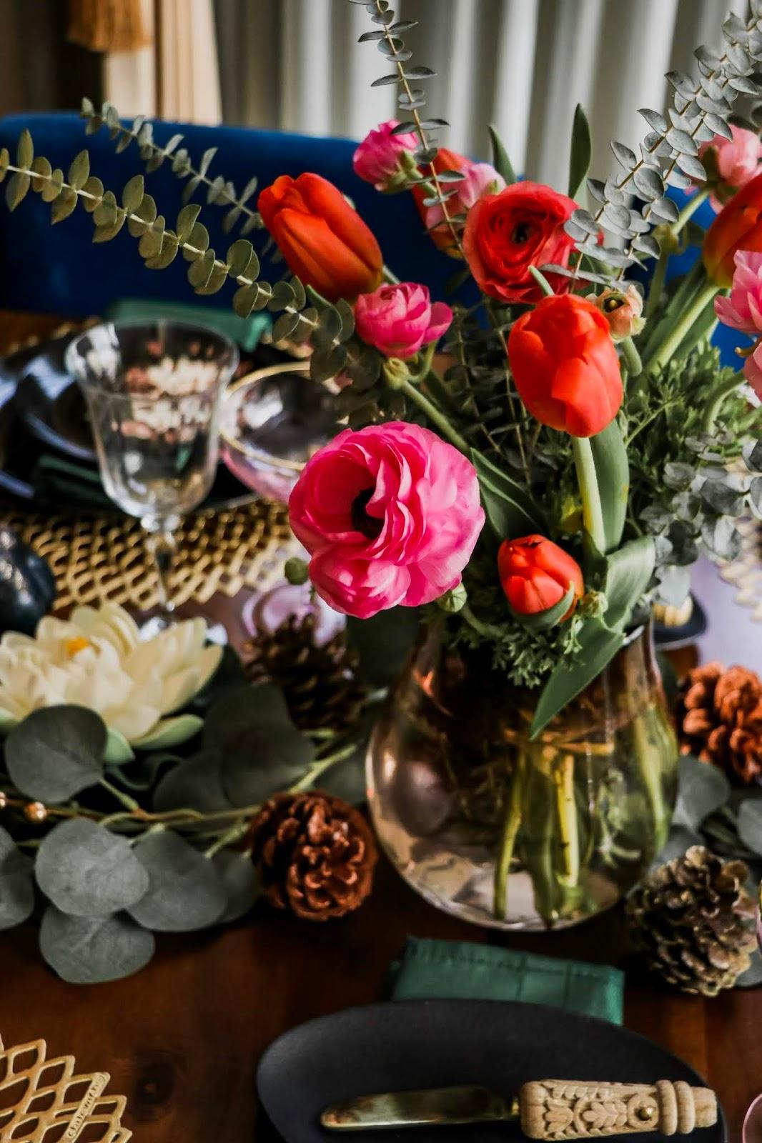 holiday tablescape, floral decor, table setup for holidays, DIY pumpkin table setup, black and green tablescape for the holidays, DIY tablescape, painted pumpkins, coupe, myriad musings, Saumya Shiohare