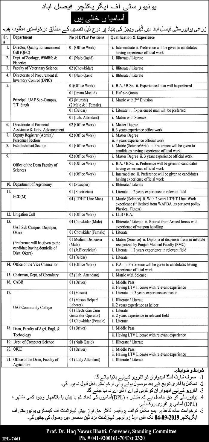 Advertisement for University of Agriculture Faisalabad Jobs