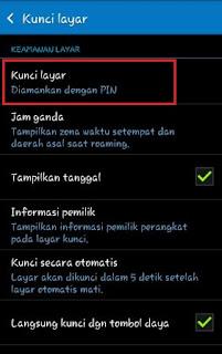 >> Setelah itu tampilan keamanan kunci layar tampil, silahkan klik/tekan lagi tulisan Kunci Layar.