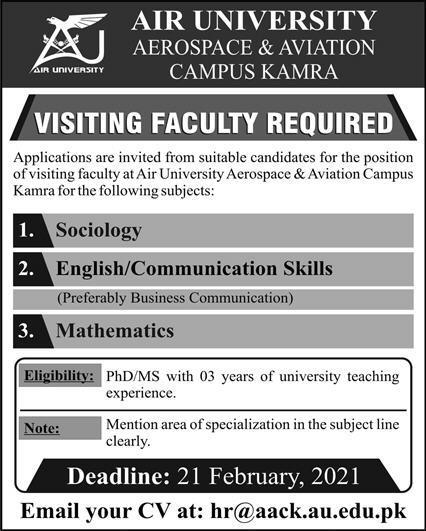 Air University Kamra Jobs 2021- jobspk14.com