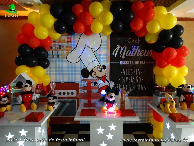 Decoração de festa Mickey Chef de Cozinha - Mesa decorada infantil