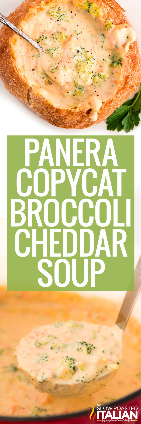 titled photo (and shown in bread bowl): Panera Copycat Broccoli Cheddar Soup