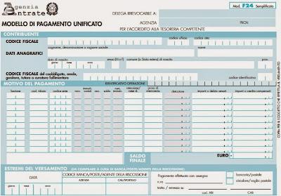 Modello F24 Semplificato per versamento o compensazione delle imposte: istruzioni per la compilazione