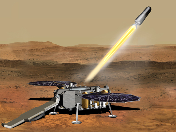 An artist's concept of the Mars Ascent Vehicle carrying rock and soil samples launching away from NASA's Sample Retrieval Lander.