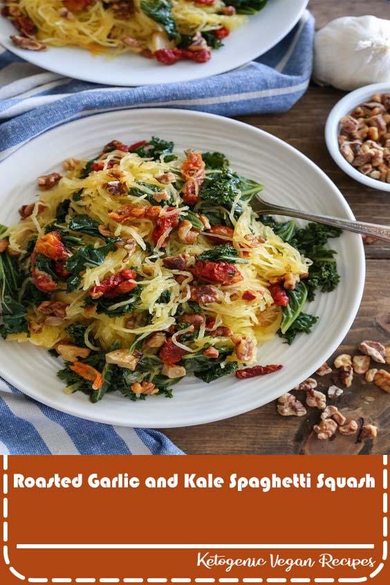 Roasted Garlic and Kale Spaghetti Squash