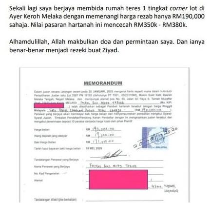 Bukti rumah lelong kepunyaan tuan Fairus Mohd Tabiee yang di beli pada harga RM190 ribu
