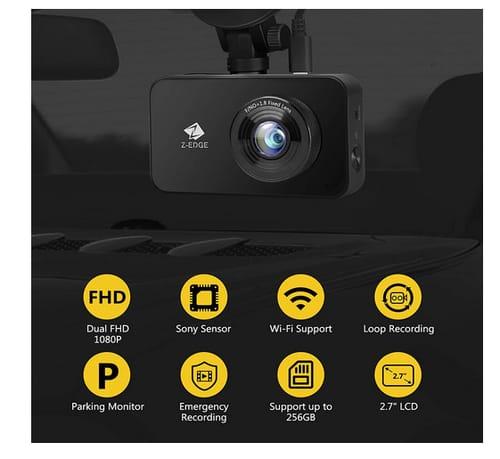 Z-Edge FHD Dual Front and Rear Dash Cam