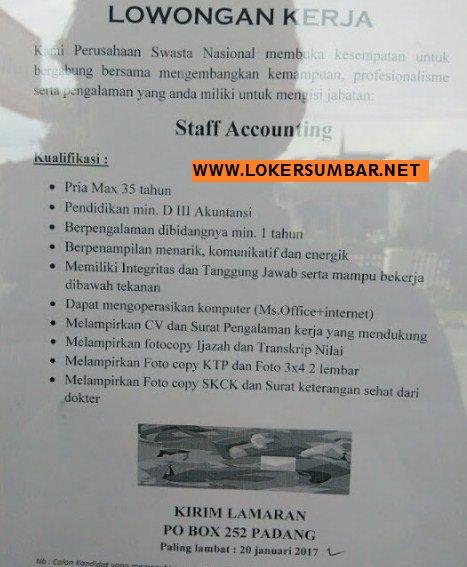 Lowongan Kerja di Padang -Perusahaan Swasta Nasional – Swasta Nasional (Penutupan 20-1-2017)
