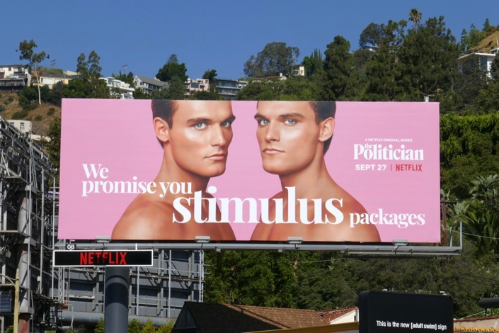 We promise you stimulus packages Politician billboard