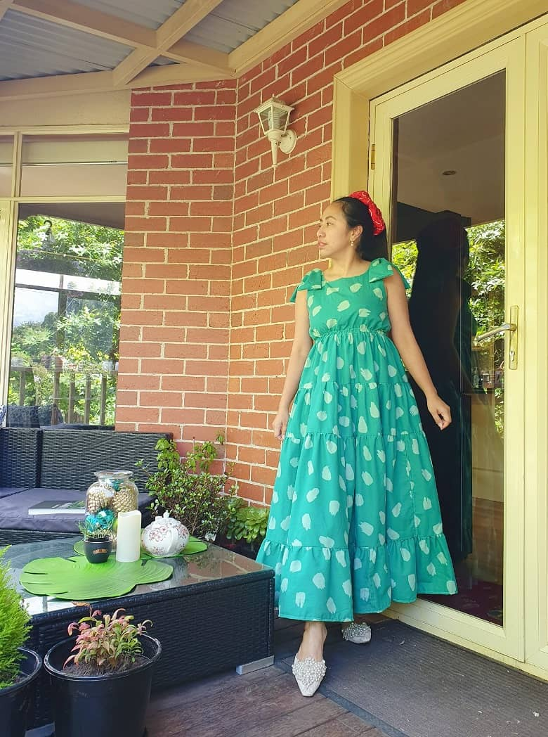 upcycling old duvet into a dress