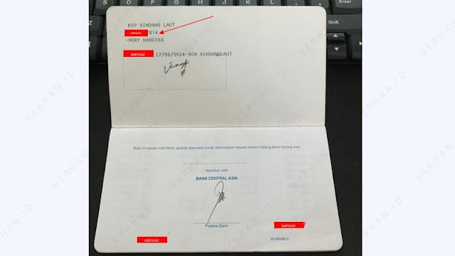 contoh nomor rekening bca di buku tabungan