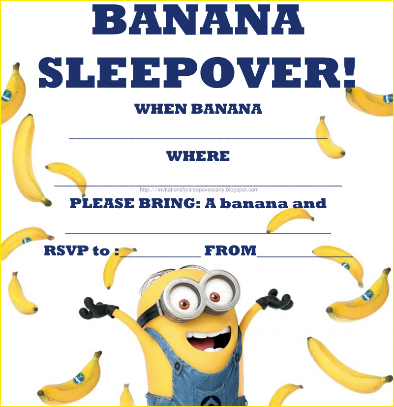 image regarding You Re One in a Minion Printable named Invites FOR SLEEPOVER Occasion
