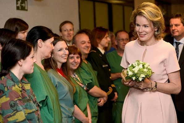 Queen Mathilde of Belgium visited the Queen Astrid Military Hospital in Neder-over-Heembeek, northern Brussels