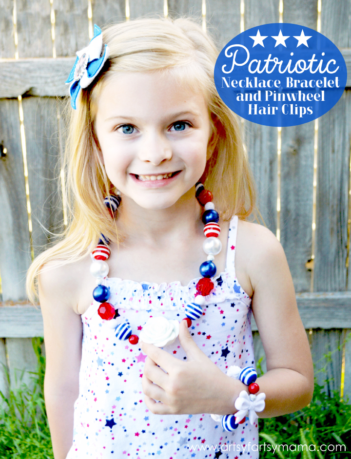 DIY Patriotic Necklace and Pinwheel Hair Clip Tutorial at artsyfartsymama.com