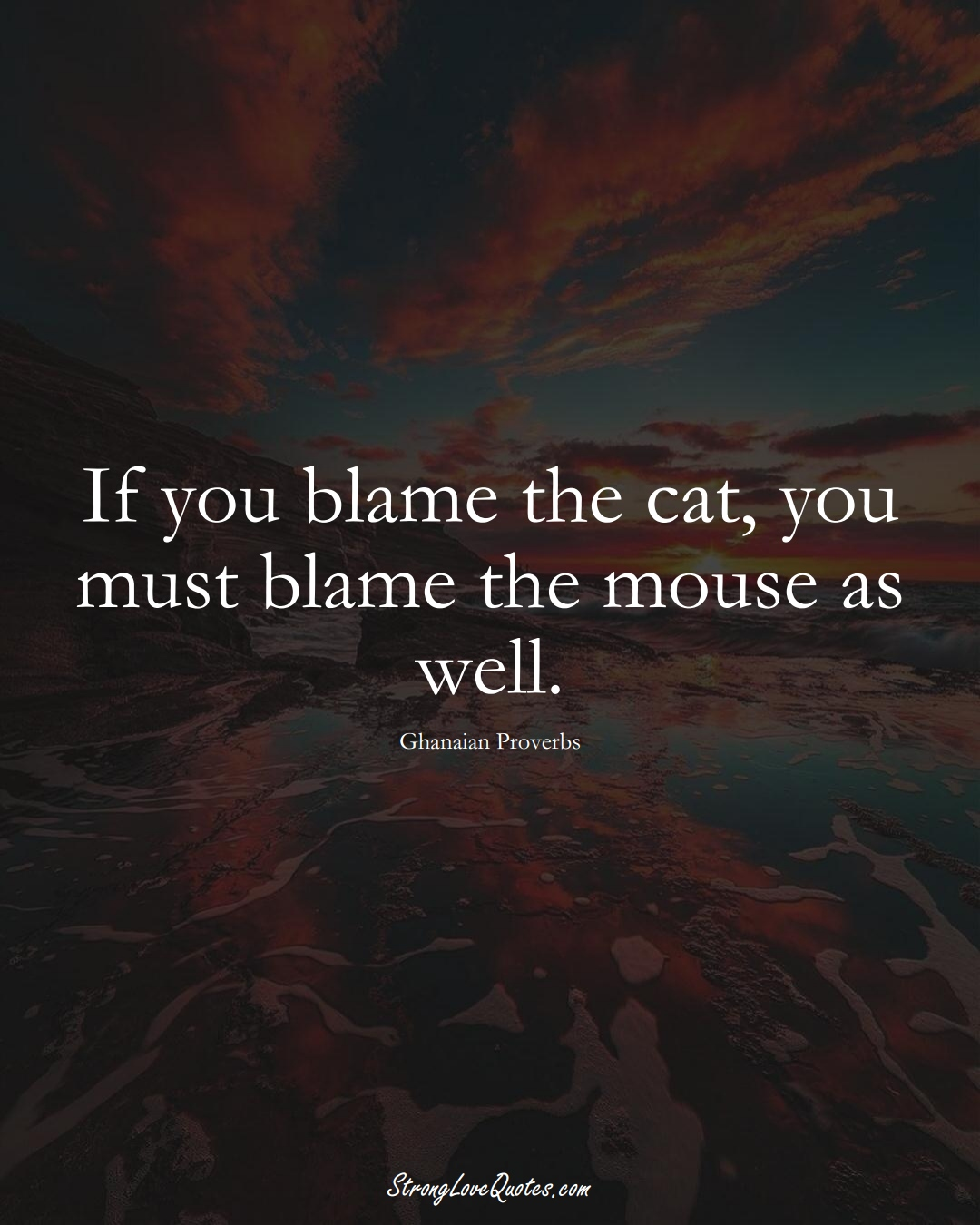 If you blame the cat, you must blame the mouse as well. (Ghanaian Sayings);  #AfricanSayings