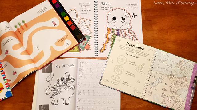fingerprint fairy book, unicorn books, painting books, tracing books, alphabet books, cut and color books, scissor skills