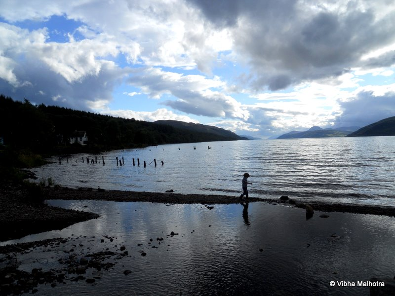 Though the Loch itself is beautiful enough, with or without the Monster, the most enduring image of my visit is that of a little boy playing on the shore. Somehow whenever I look back at the visit, this is the image that comes to my mind.