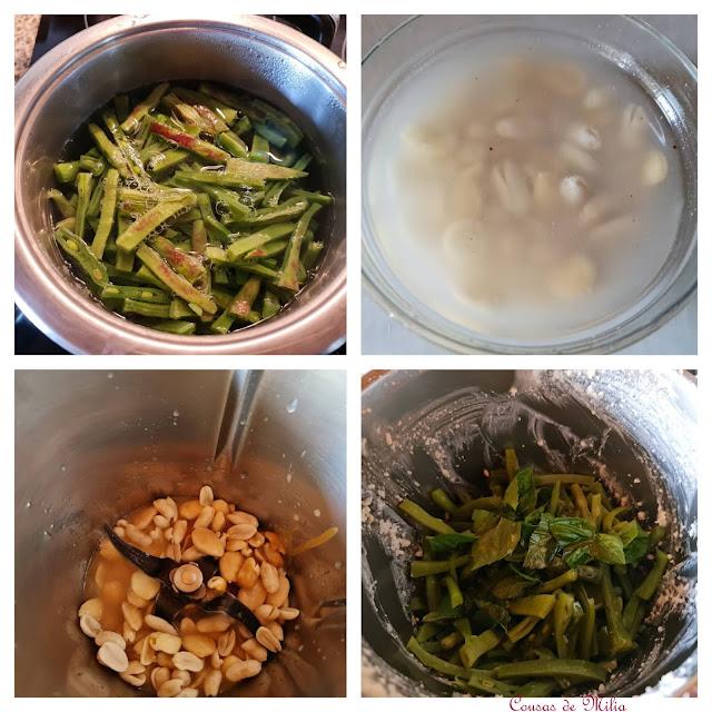 Dip de frutos secos y judías verdes