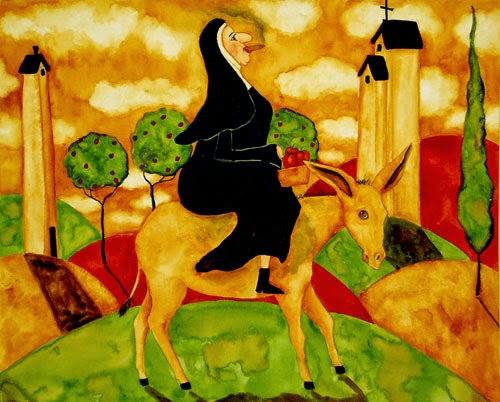 Funny smoking catholic nun with a donkey (ass) joke picture