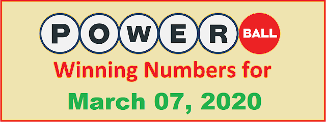 PowerBall Winning Numbers for Saturday, March 07, 2020