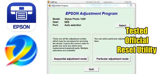 Epson Stylus Photo 1420 Adjustment program (Reset Utility) Free Download