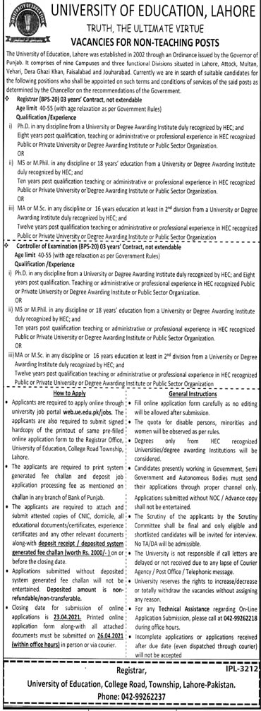University-of-Education-Lahore-Job-Vacancies-2021