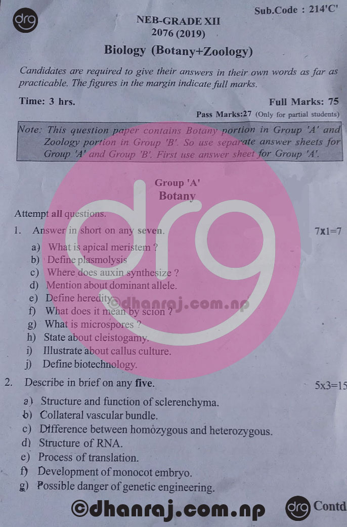 Biology-Botany-Zoology-Grade-12-XII-Question-Paper-2076-2019-Sub-Code-214-C-NEB-DOWNLOAD