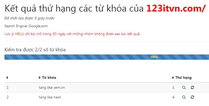 Công cụ kiểm tra thứ hạng từ khóa Helu Ranking