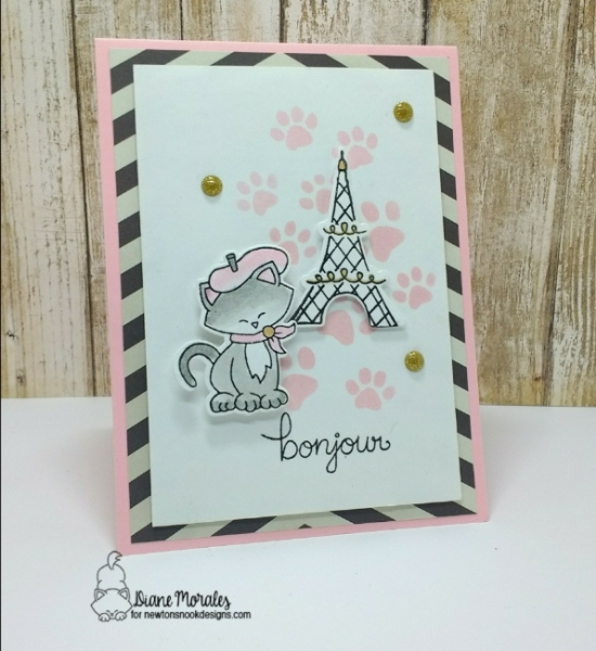 Bonjour by Diane features Pawprints and Newton Dreams of Paris by Newton's Nook Designs; #newtonsnook