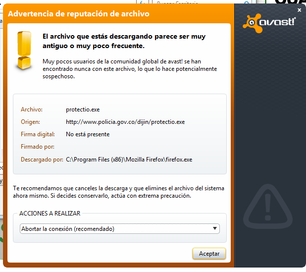 Mensaje de advertencia del antivirus
