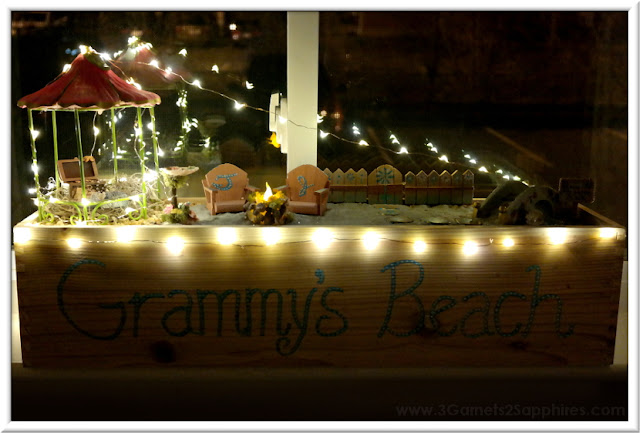 DIY Personalized Window Box Beach Fairy Garden with Mini Lights  |  3 Garnets & 2 Sapphires