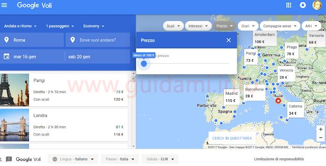 Google Voli trovare biglietti aerei in base al budget disponibile