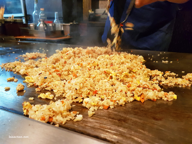 The skilful chef preparing our Seafood Teppanyaki Fried Rice