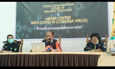 Tim Satuan Gugus Penanganan dan Pencegahan Covid-19 Maluku Tenggara saat menggelar Konferensi Pers, Selasa (31/03/2020)