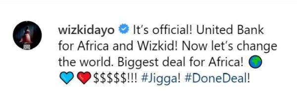 Wizkid's UBA Endorsement Deal Is Worth 3 Million Dollars.