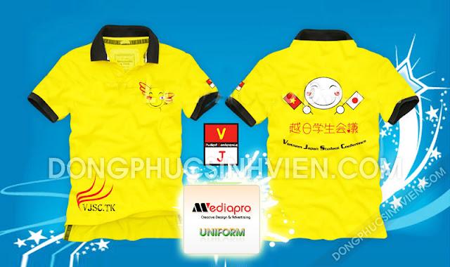 Áo hội sinh viên Việt Nam - Nhật Bản màu vàng cổ trụ - Mã AL47