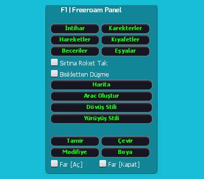 MTA SA Türkçe F1 Freeroam Panel Scripti