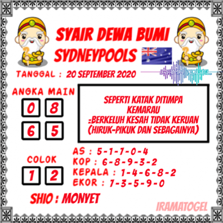 Syair Dewa Bumi Sydney Minggu 20 September 2020