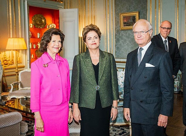 King Carl Gustaf of Sweden and Queen Silvia of Sweden met with President Dilma Rousseff of Brazil wore Prada dress