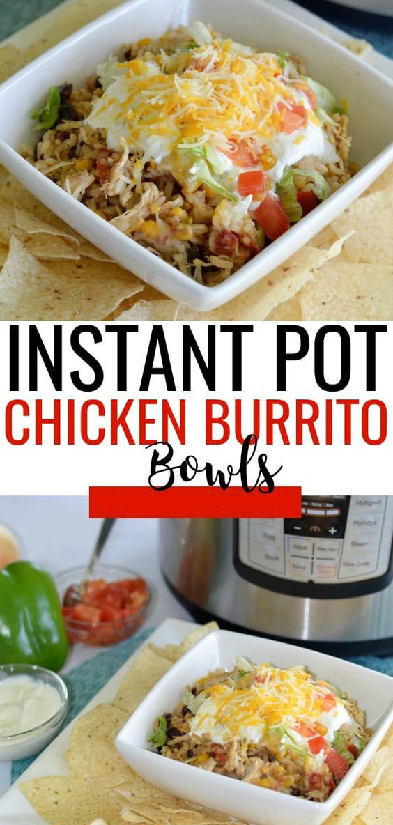 Instant Pot Shredded Chicken Burrito Bowls